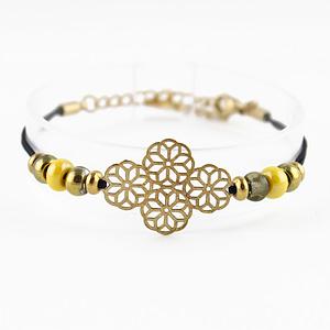 bracelet cordon perles Java doré jaune